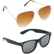 Hrinkar Aviator Sunglasses(Brown, Grey)