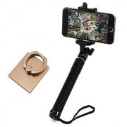 Deepcellmart Universal Combo Selfie Stick With Mobile Holder Ring Portable Black- Compatible for all Android and I Phones(Selfie Stick with Wire/Aux Cable )