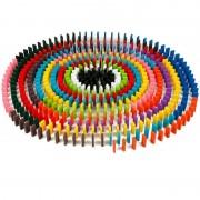 120Pcs/Set Wooden Dominoes Bricks Colorful Rainbow Wood Domino Blocks Kids Early Educational Wooden Bricks Toy Gift Present