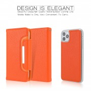 Litchi Texture Detachable Leather Cover Wallet Phone Case for iPhone 11 Pro 5.8 inch - Orange