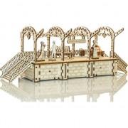 Puzzle 3D mecanic Wooden City Peron Lemn natur 175 piese
