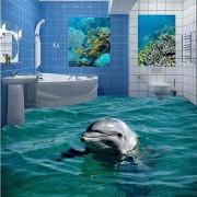 Luodeng., Piso de fotos personalizado 3D Baño Lindo Dolphin Underwater World Sala de estar Dormitorio Autoadhesivo Floor Mural Wallpaper-200Cmx140Cm