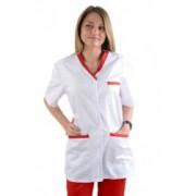 HALAT cu insertie si nasturi, de dama, alb cu rosu - cod HN01-05