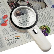 Number-One 10X LED Lighted Magnifier Handheld Magnifying Glass Illuminated Lens with 12 Lights 80mm Large Viewing Mirror
