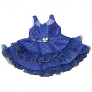 Krivi Kids Party Wear Plated Frock Dress For Baby Girl (Blue Color)Birthday Party Festivals Wear.