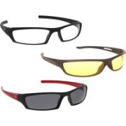 Vast New Day & Night Vision Driving Plus Summer Special (Yellow,White,Grey) COMBO 3 Cycling Goggles
