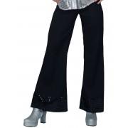 Deguisetoi Pantalon disco noir avec sequins sur le bas femme - Taille: Medium