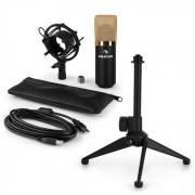 auna MIC-900BG-LED USB Conjunto Microfone V1 | Microfone Condensador Preto | Suporte p/Mesa