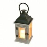 Felinar cu lumanare LED alb cald lumina intermitenta corp lemn Home