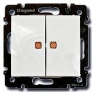 Выключатель двухклавишный с индикацией Legrand Valena 10A белый