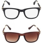 Flynn Wayfarer Sunglasses(Clear, Brown)