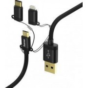 Cablu Hama Micro USB 3 în 1 cu adaptor USB Type-C-Lightning 1 m Negru