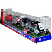"""Thomas And Friends Favorite Moments Series As Seen On """"Steamy Sodor"""" Trackmaster Motorized Railway Battery Powered Tank Engine 3 Pack Train Set Coal Mustache Spencer With Coal Loaded Wagon And Scrap Metal Loaded Wagon"""