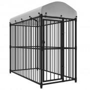 vidaXL Клетка за кучета, дворна, с покрив, 200x100 см