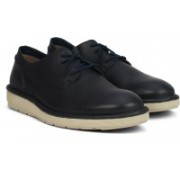 Clarks Fayeman Lace Navy Leather Sneakers For Men(Navy)