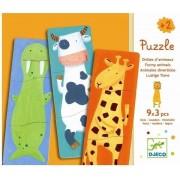 DJECO Drewniane puzzle 3 elementowe Zwierzaki - zestaw 27 puzzli,