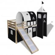 vidaXL Children's Loft Bed with Slide & Ladder Wood Black and White