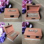 ELECTROPRIME® Rustic Wooden Love Ring Boxes Wedding Valentines Ring Holder Jewelry Box