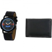 Crude Analog Watch-rg669 With Black Leather Wallet