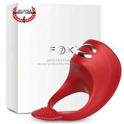Anillo 8 cm para pene de silicón con Electro Shock estimulador de clítoris fox anillo zeus