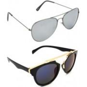 Hrinkar Aviator Sunglasses(Silver, Grey)