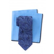 Ted Baker London Silk Tonal Paisley Tie Pocket Square Set NAVY