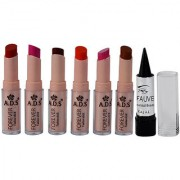 ADS Cinema Beauty Glossy Shine Forever Lipstick Pack of 6 And Free Kajal-GPTGP-B4