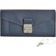 MANDAVA Women Casual Blue Genuine Leather Wallet(6 Card Slots)