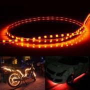 45 LED 3528 SMD waterdichte flexibele auto Strip licht voor auto decoratie DC 12V lengte: 90cm (gele lampje)