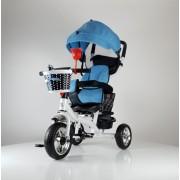 Tricikl Guralica Playtime 416 Star sa rotirajućim sedištem i tendom od lanenog platna - Plava