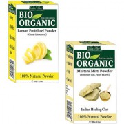 Indus Valley Bio Organic Lemon Fruit Peel Powder + Multani Mitti Combo-Set of 2