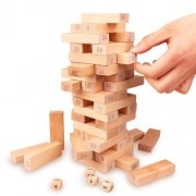 Wooden Stacking Game, Wood Building BlockTumbling Tower Stacking Games for Kids Educational Math Christmas Gift