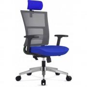 Scaun ergonomic rotativ Next Executive Mecanism Sincron si Sezut tapitat Eco Lana, Albastru cu Mesh Gri, 131 x 64 cm