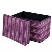 [en.casa]® Összehajtható szövet kötött puff - ülőke / lábtartó tárolórekesszel (48x32cm) rózsaszínes