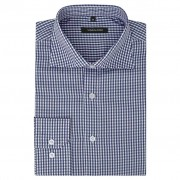 vidaXL Camisa negócios p/ homem aos quadrados branca e azul-marinho, S