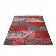 Patchwork Teppich in Rot Pink