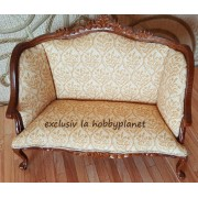 Canapea din lemn sculptat furnir de nuc tapitata-miniatura