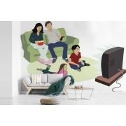 Fotobehang vinyl - Illustratie van een gezin dat samen televisie kijkt breedte 550 cm x hoogte 400 cm - Foto print op behang (in 7 formaten beschikbaar)