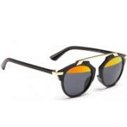 Mark Miller Round Sunglasses(Black, Silver)