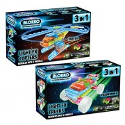 Bundle Of 2 Blokko Led Light Up Vehicle Kits: Trucks And Helicopters. Instructions For 6 Different Vehicles Included