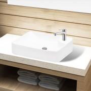 vidaXL Керамична мивка за баня с корито и отвор за смесител, бяла