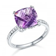 Inel Borealy Aur Alb 14 K 3.5 Ct Ametist Natural Purple Engagement Wedding