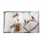 Trusou Botez Traditional Brodat cu Spice de Grau 7 piese Alb/Tricolor