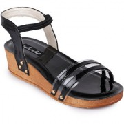Funku Fashion Women's Ankle Strap Platform Heel Black Wedges