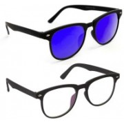 0303 FASHION HUB Retro Square, Retro Square Sunglasses(Blue, Clear)