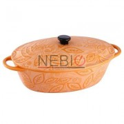Cratita ceramica ovala Vabene, 1.3 L, Capac, Portocaliu