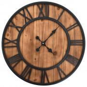 vidaXL Relógio de parede c/ movimento quartzo madeira e metal 60cm XXL