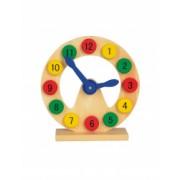 Joc educativ Invatam Ceasul Everestus JJE11 lemn multicolor saculet de calatorie inclus