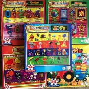 My First Set of 5 Learning Puzzles Colors Shapes ABC's Numbers Farm Life
