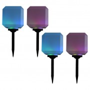 vidaXL Vonkajšie solárne lampy 4 ks 20 cm LED v tvare kocky RGB
